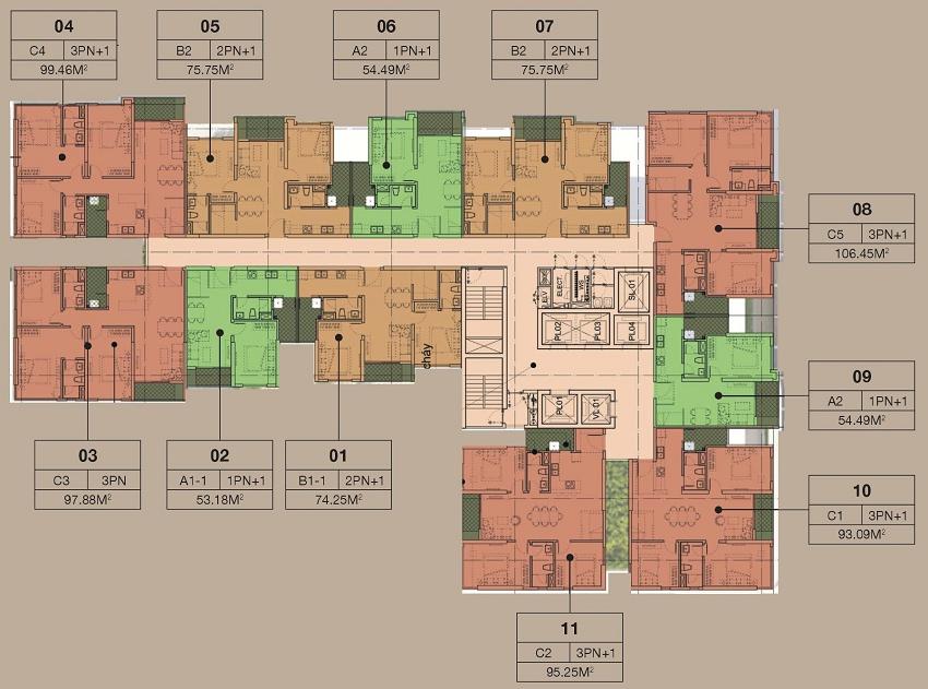 Mặt bằng tòa A căn hộ chung cư cao cấp The Zen Residence