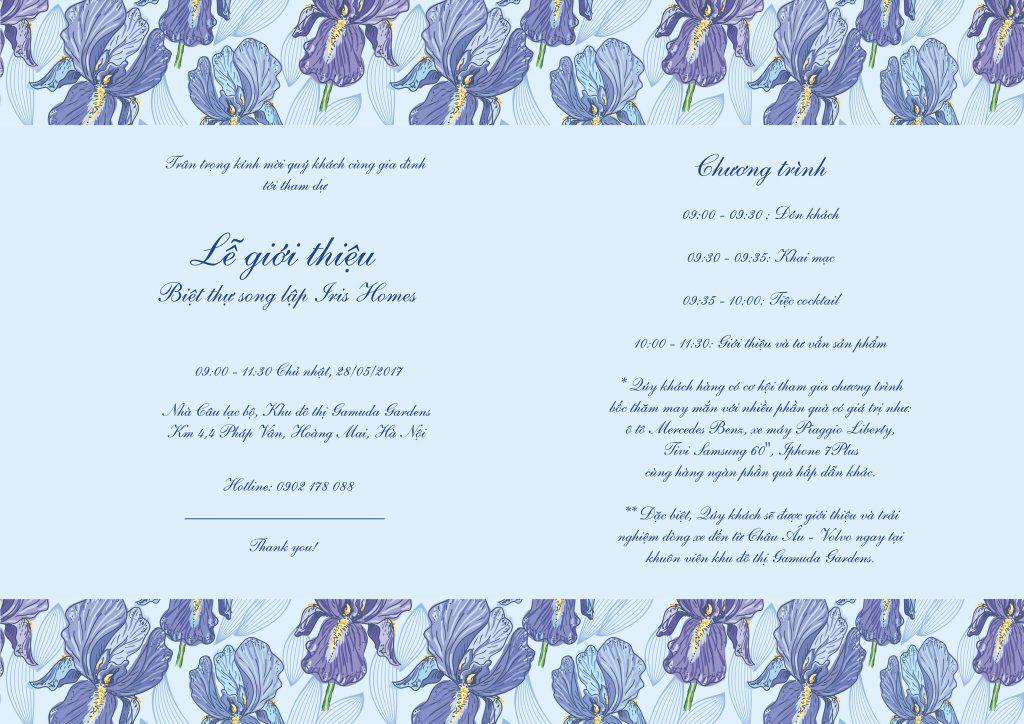 Thư mời lễ giới thiệu Biệt thự song lập Iris Homes