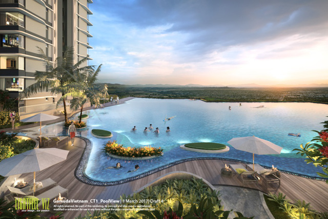 Là một trong những tiện ích trong khu căn hộ The ZEN Residence, bể bơi vô cực vừa là nơi vận động, thư giãn của cư dân, vừa tạo ra khoảng xanh đậm chất phong thủy.