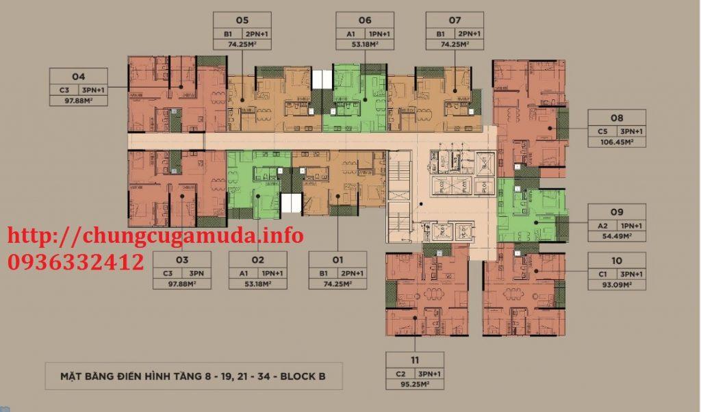 Mặt bằng điển hình tầng 8-19, 21-24 block B chung cư The Zen Residence