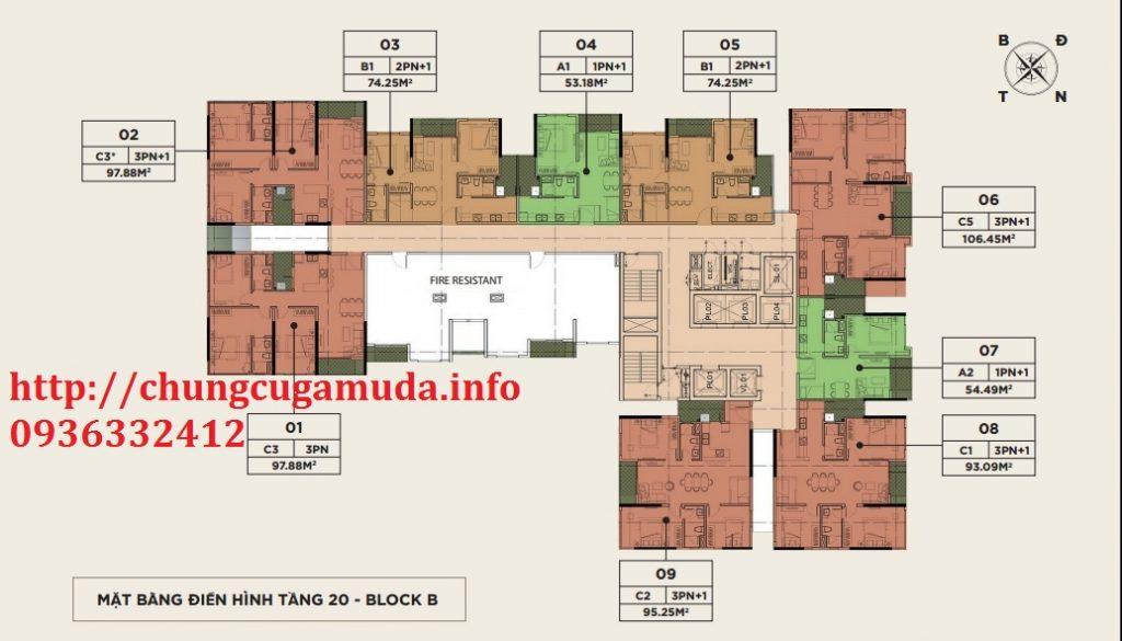 Mặt bằng điển hình tầng 20 block B chung cư The Zen Residence