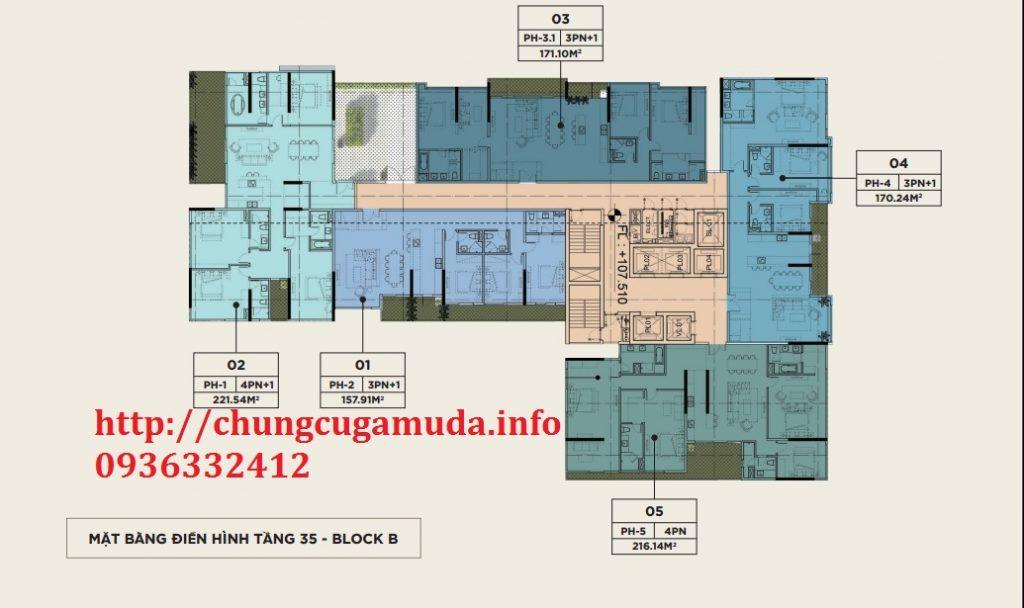 Mặt bằng điển hình tầng 35 block B chung cư The Zen Residence