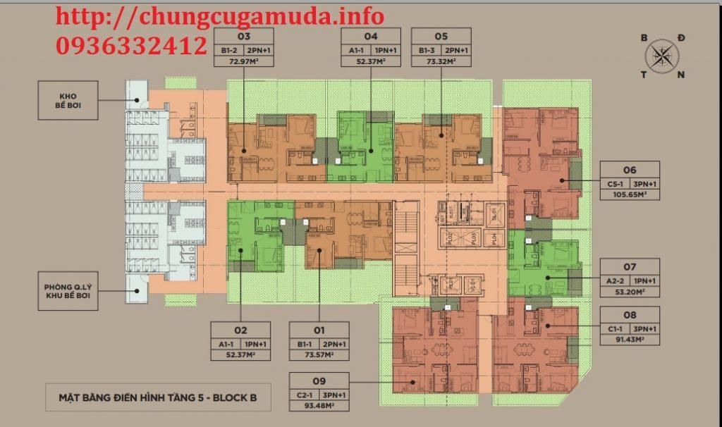 Mặt bằng điển hình tầng 5 block B chung cư The Zen Residence