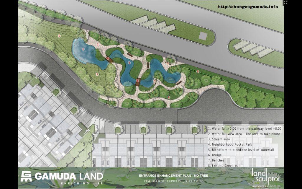 Phối cảnh nhà vườn liền kề Gamuda giai đoạn 2 - Lily Homes ST3 - Suối nước