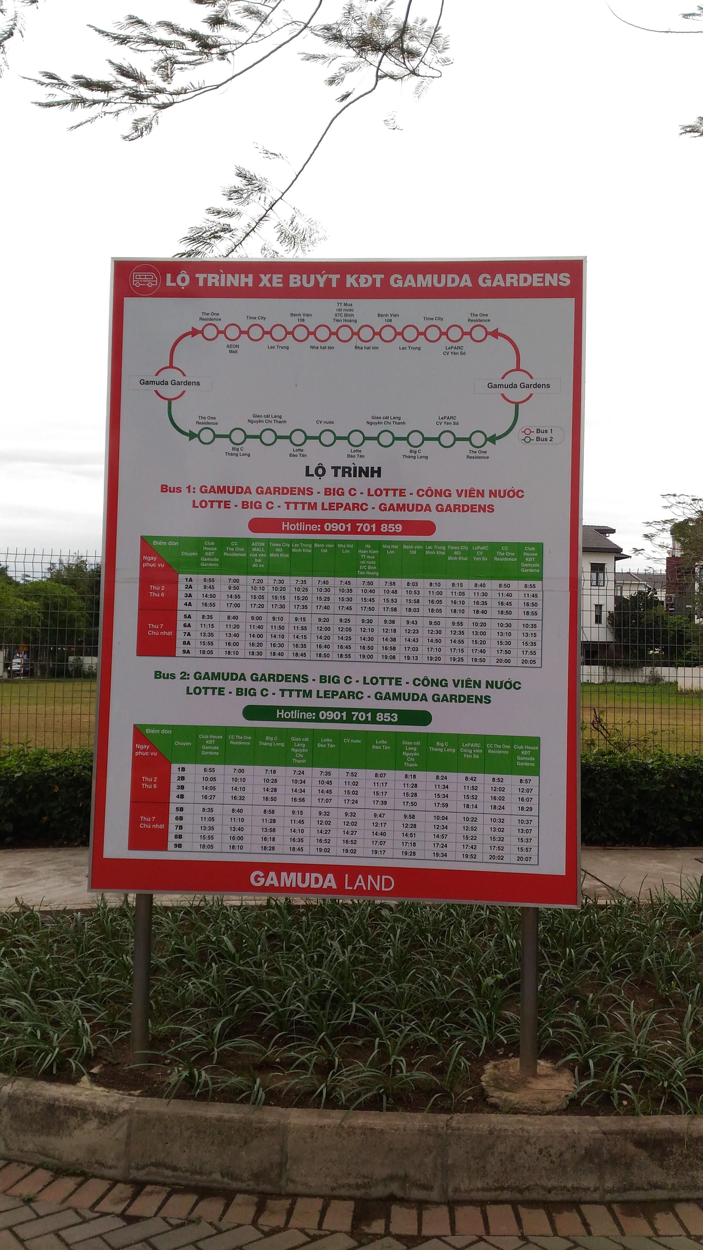 Lộ trình xe buýt khu đô thị Gamuda Gardens