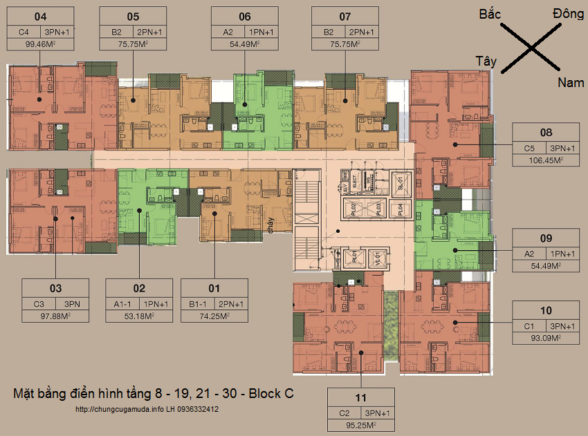 Mặt bằng điển hình tầng 8 - 19, 21 - 30 - tòa C - chung cư cao cấp The Zen Residence