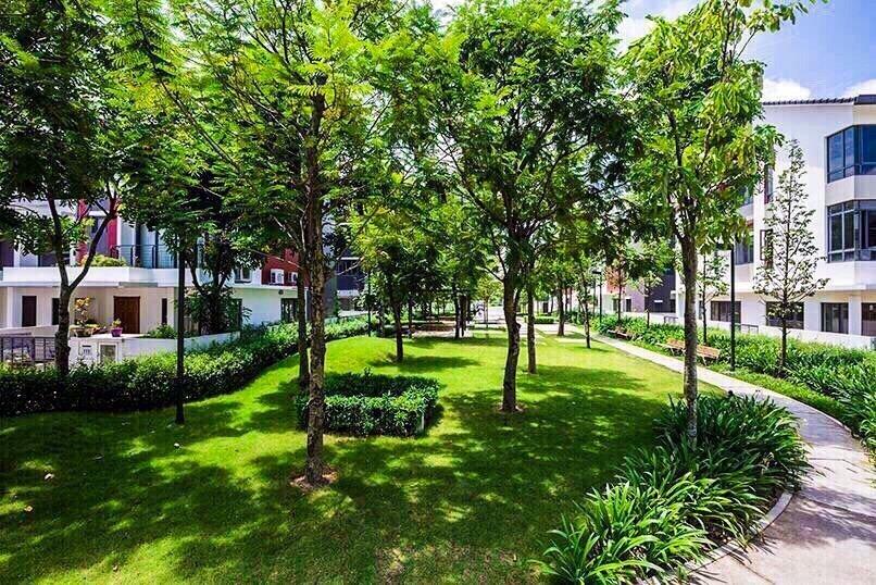 1 góc công viên trong tiểu khu Botanic, thuộc khu đô thị Gamuda Gardens, Yên Sở, Hoàng Mai, Hà Nội